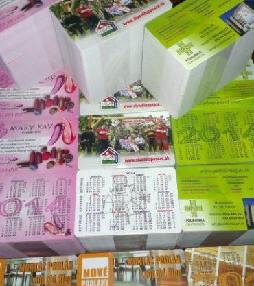 Vreckové kalendáriky, kartičky